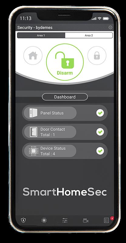 Immagine di uno smartphone dedicata all'APP SmartHomeSec, relativa al sistema di allarme Vesta
